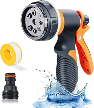Car Washing Shower Pets Green Pathonor Garden Hose Spray Nozzle 8 Adjustable Patterns Water Gun,High Pressure Spray Nozzle Perfect for Watering plants