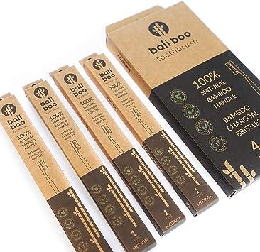 Cepillos de Dientes de Bambú de Bali Boo | Dureza MEDIA | Pack Familiar de 4