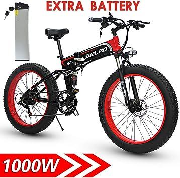 Shengmilo 1000W de Grasa eléctrica Bicicleta de montaña 13AH batería 21Speeds Freno de Disco hidráulico (Negro (2 Baterias)): Amazon.es: Deportes y aire libre