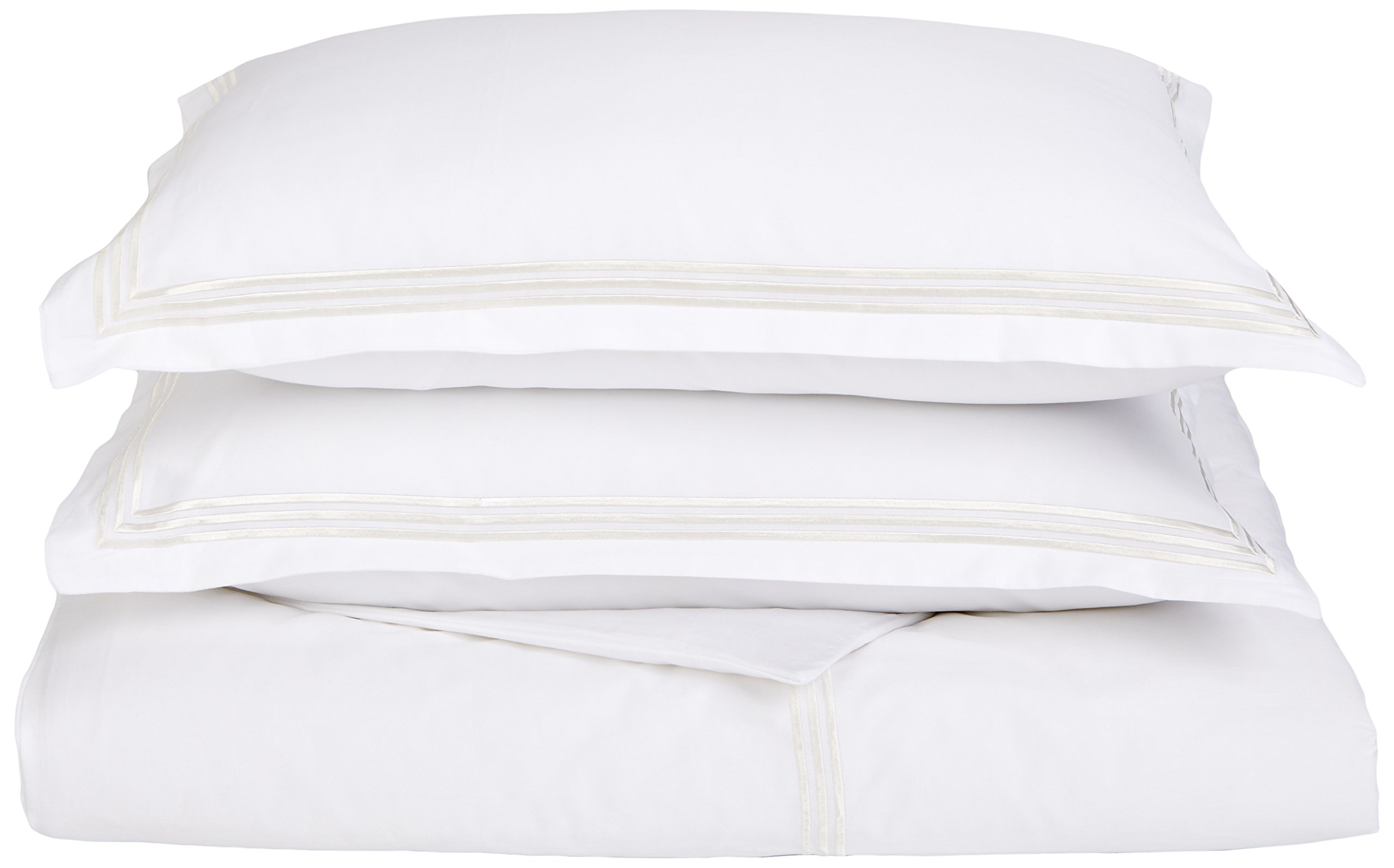 Echelon Home Three Line Hotel Collection Duvet Cover Set, King, Ivory