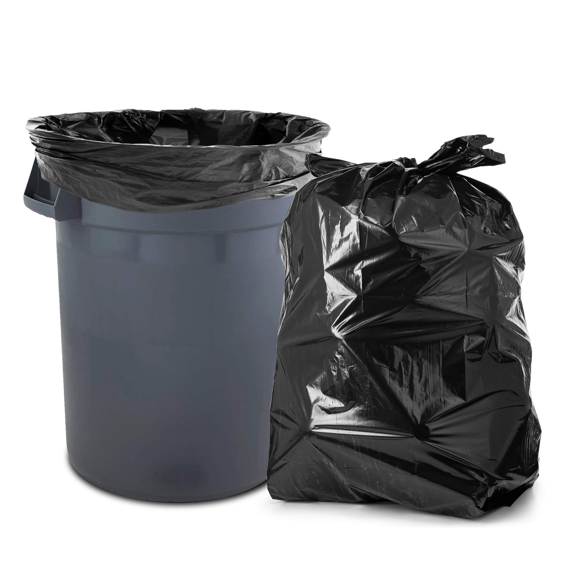 55-60 Gallon Trash Bags, 100/Count, Large Black Garbage Bags, 38'' W x 58'' H, 1.2 Mil by Tasker (Image #3)