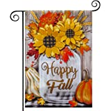 hogardeck Fall Garden Flag Yard Flag Vertical Double Sided Garden Decoration Happy Fall with Pumpkin Sunflowers for…