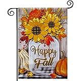 hogardeck Fall Garden Flag Yard Flag Vertical Double Sided Garden Decoration Happy Fall with Pumpkin Applique 3D Sunflowers f