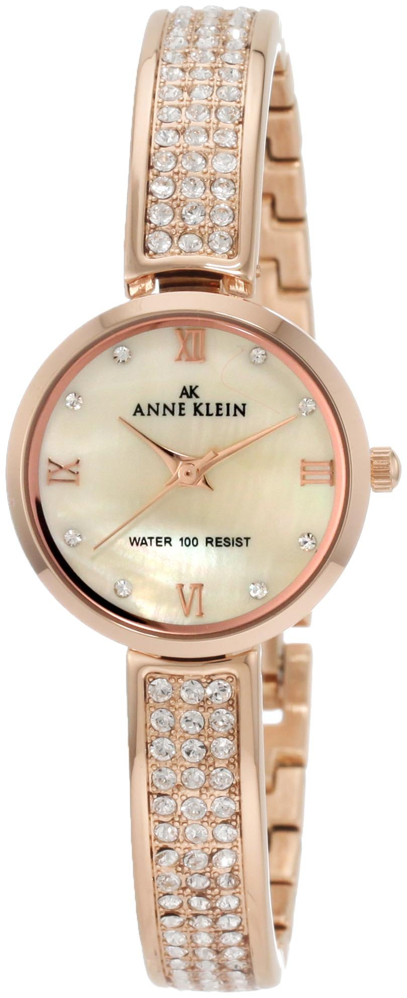 Anne Klein Women's 10/9786CMRG Swarovski Crystal Accented Rosegold-Tone Half Bangle Watch by Anne Klein