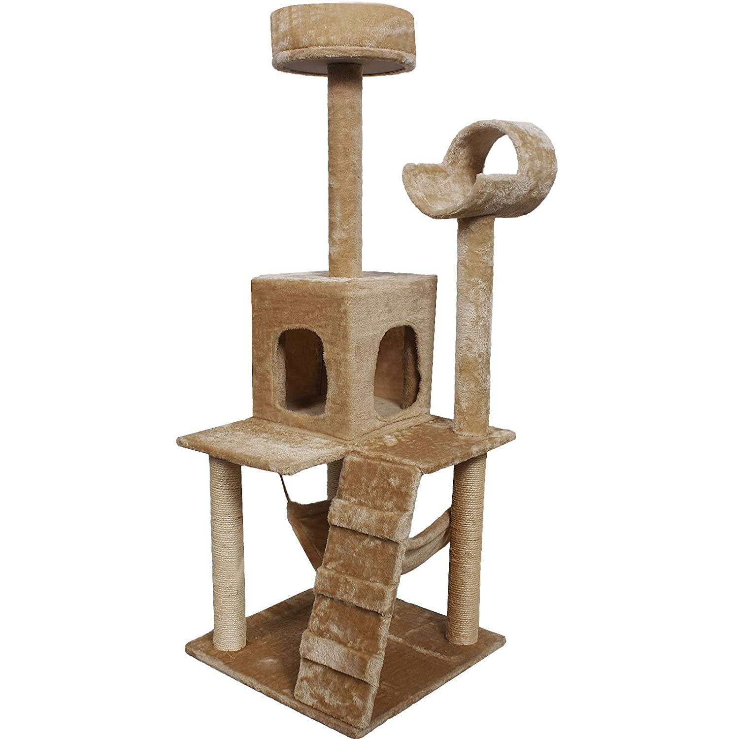 52 Cat Kitty Tree Tower Condo Furniture Scratch Post Pet House Toy Bed Beige by Globe House Products