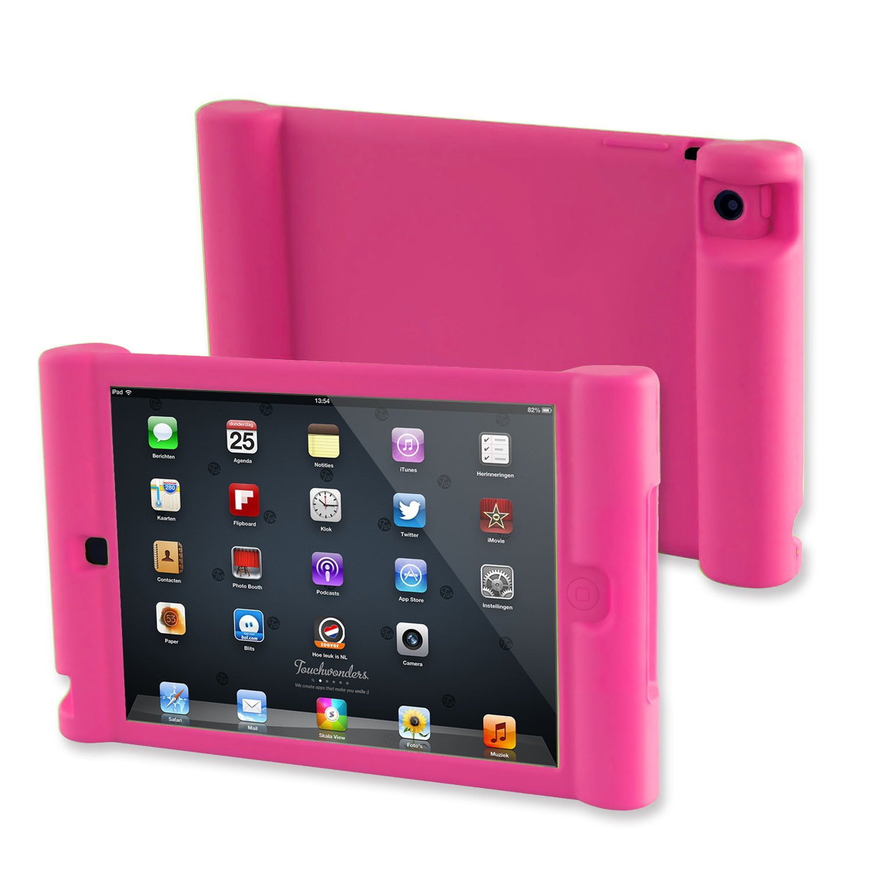 TFY Kids Car Headrest Mount Holder for iPad Mini 4 Detachable Lightweight Shockproof Anti-slip Soft Silicone Handle Case Black