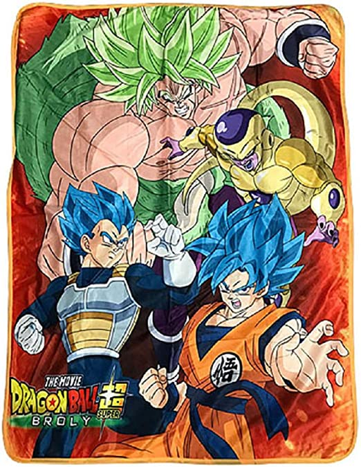 Great Eastern Entertainment Dragon Ball Super Broly The Movie Goku Vegeta Group Sublimation Throw Blanket