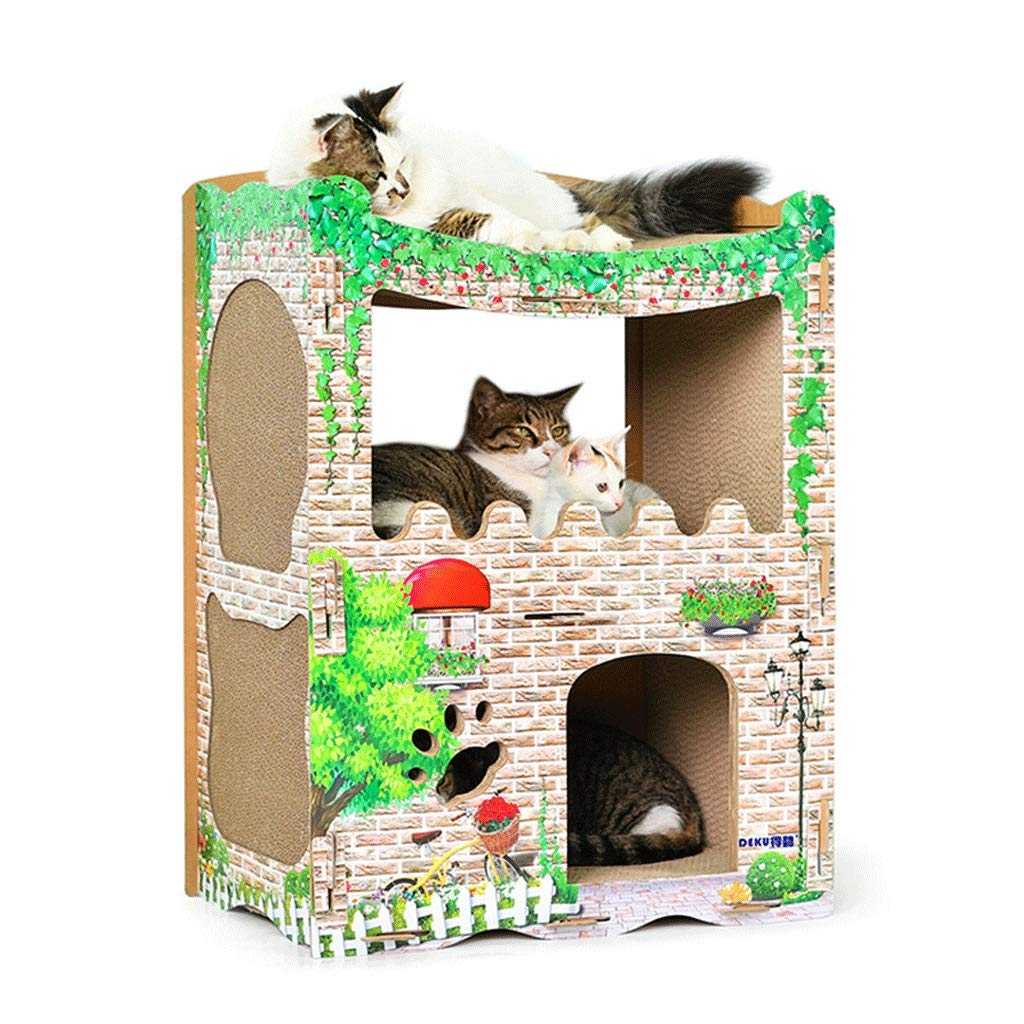 A Cat scratch board kitten toy cat furniture cat carton house cat scratch board cat supplies (color   A)