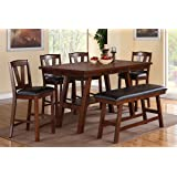 poundex f2273 u0026 f1333 u0026 f1334 walnut table u0026 chairsbench counter dining set