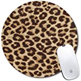 Personalized Round Mouse Pad, Printed Leopard Pattern, Non-Slip Rubber Comfortable Customized Computer Mouse Pad (7.87x7.87in