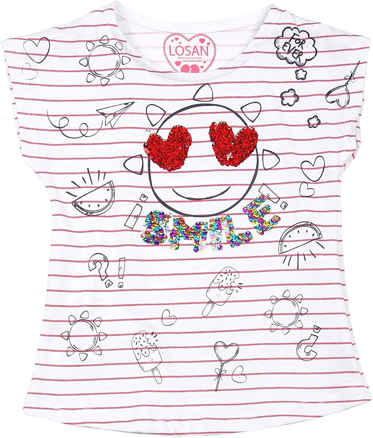 Sizes 2-7 Losan Girls Striped T-Shirt with Print