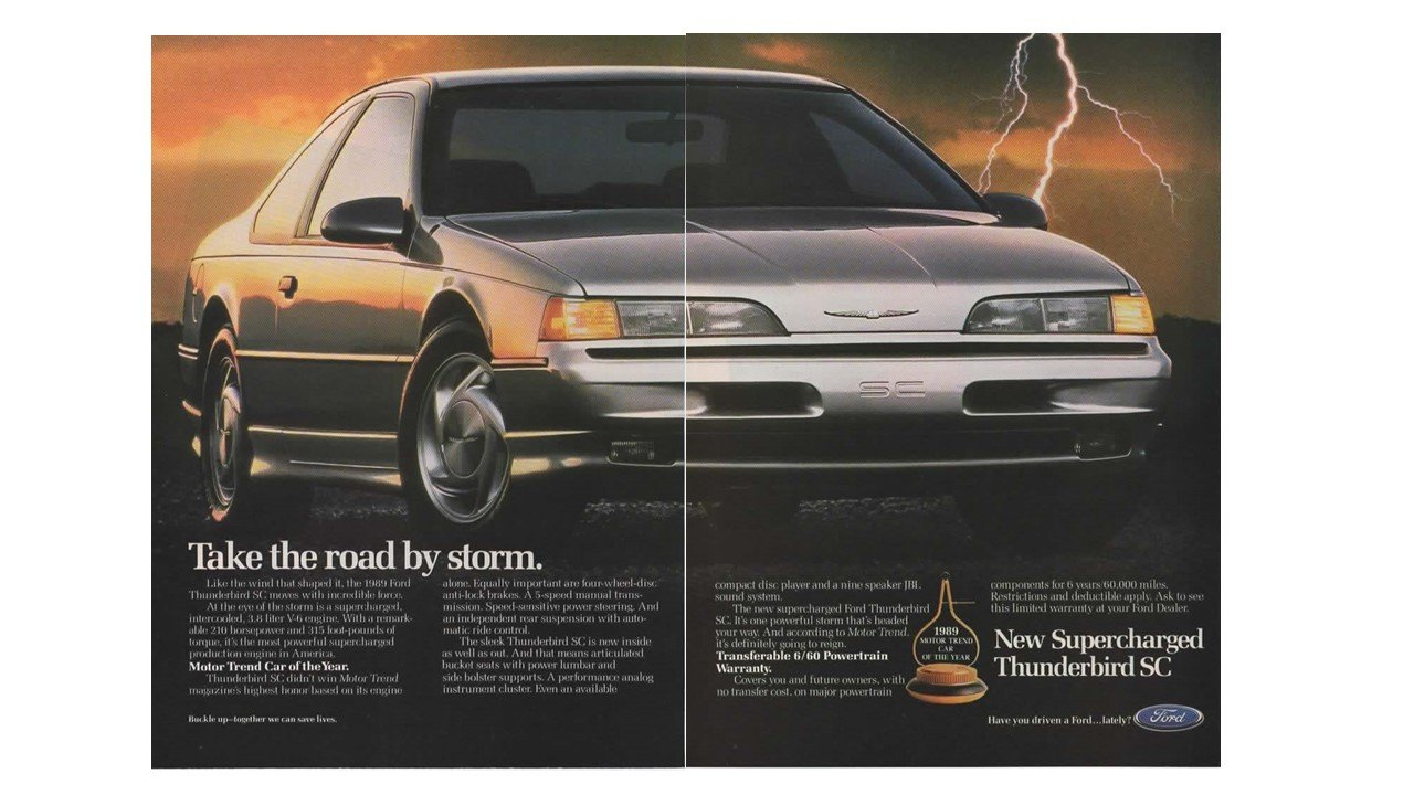 """Magazine Print Ad: Silver Supercharged 1989 Ford Thunderbird SC, 2 page  """"Take the Road by Storm"""" at Amazon's Entertainment Collectibles Store"""