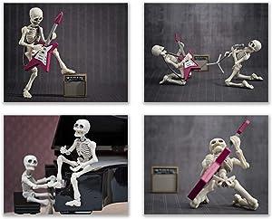 Summit Designs Music Skeleton Wall Decor Prints - Set of 4 (8x10) Poster Photos - Funny Hispster Guitar Skull and Bones