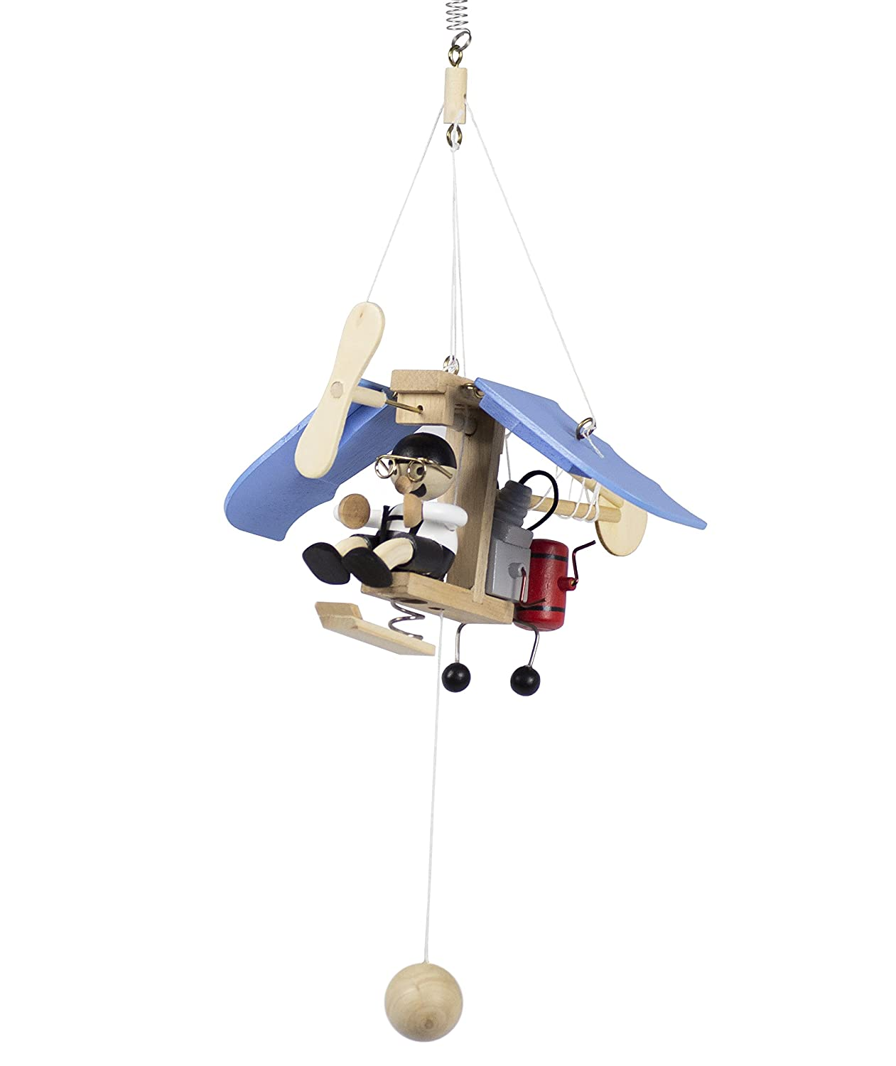 Wupper Airlines Weighted Hanging Mobile Wooden Airplane Blue by From There To Here   B00K0T9FCU