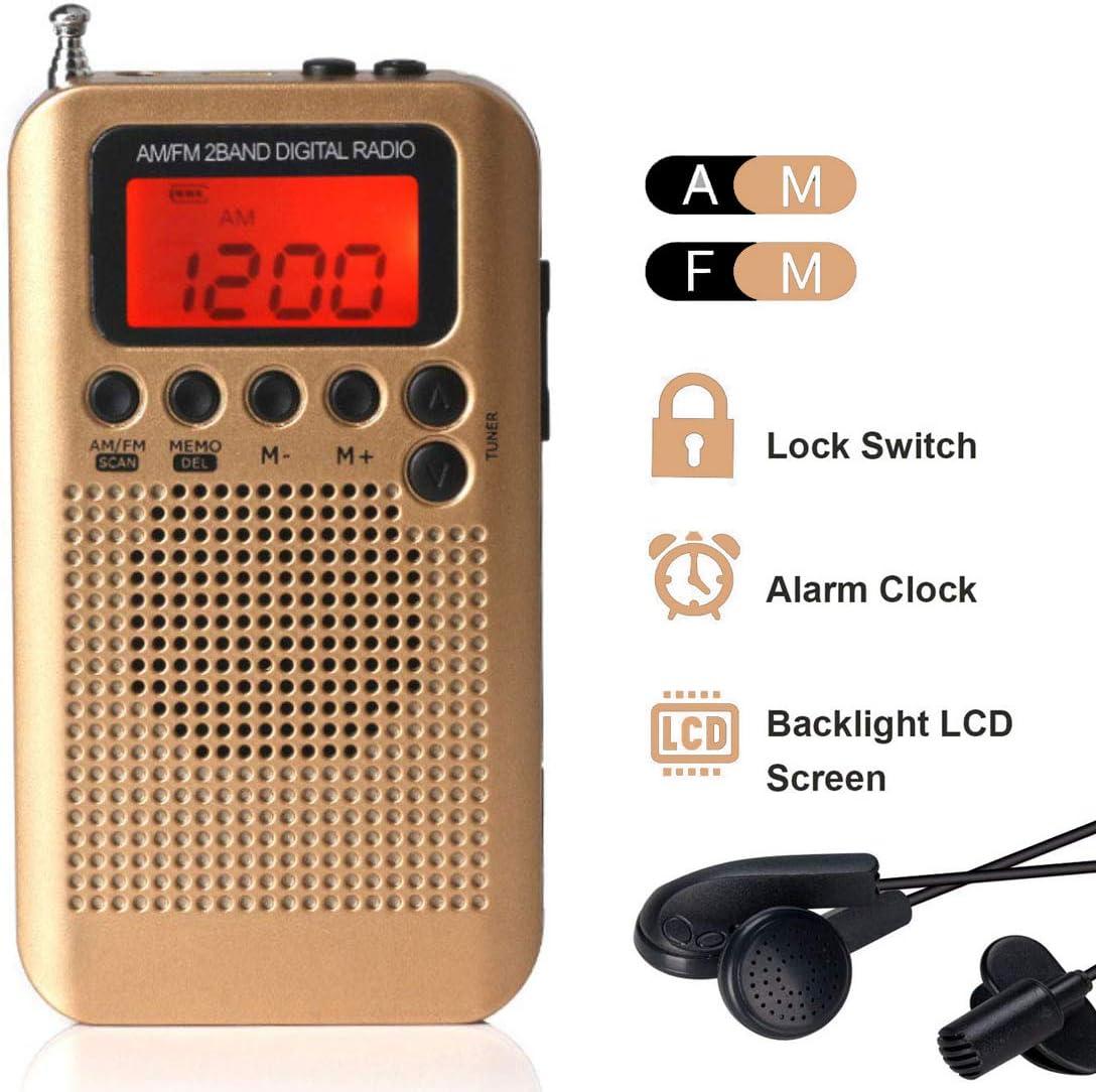 Lychee Radio de Bolsillo Portátil Mini Am Radio Estéreo FM con Altavoz, Reloj Despertador y Temporizador para Dormir, Altavoz (Dorado)