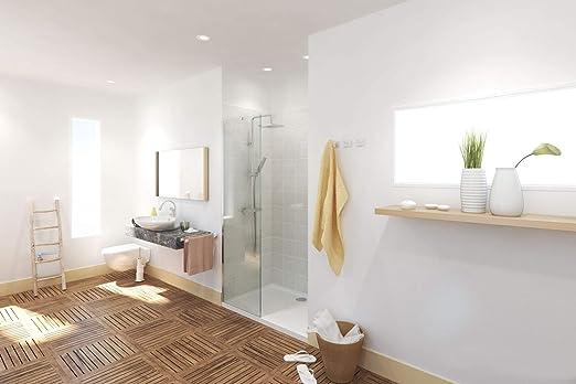 Mampara de ducha, 8mm,frontal de un cristal fijo,NANO anti cal,construcción derecha o izquierda,soporte de muro incluido,acero inoxidable: Amazon.es: Hogar