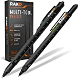 RAK Multi-Tool 2Pc Pen Set - LED Light, Touchscreen Stylus, Ruler, Level, Bottle Opener, Phillips Screwdriver, Flathead, and