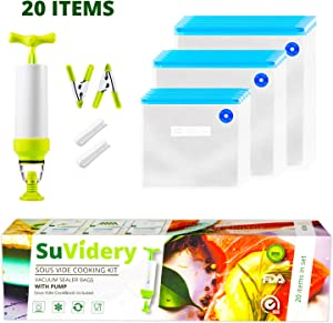 SuVidery Sous Vide Bags - 15 Reusable Vacuum Sous Vide Cooking Bags - 3 Sizes Sous Vide Bag Kit with Clips and Pump - Compatible with Anova and all Sous Vide Cookers