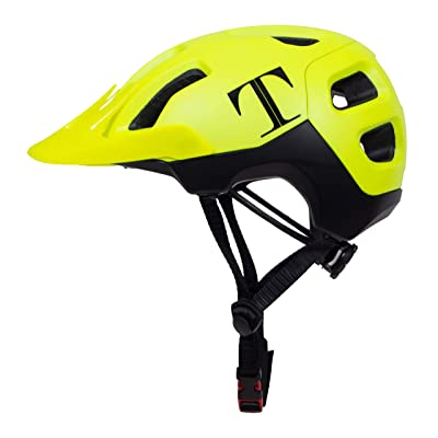 Tommaso Enduro MTB and Road Cycling Helmet Removable Visor, Adjustable Fit, 4 Colors Matte Black, White, Titanium, Yellow, Fully Certified Safety Protection - Yellow: Automotive
