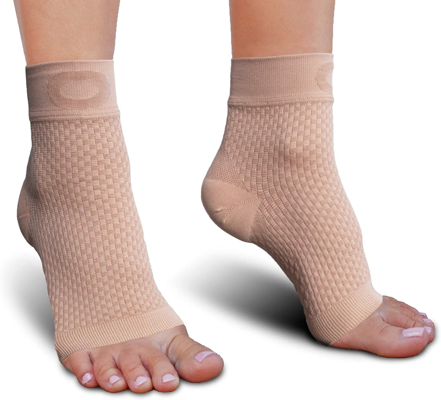 Relieves Pain Foot Compression Sleeve for Ankle Brace Support Eases Swelling Best Plantar Fasciitis Compression Socks Foot Care for Arch Support Women /& Men X-Large, Nude