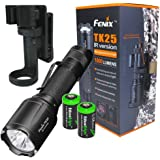 Fenix TK25 IR 1000 Lumens white / 3000mW Infrared (IR) Dual Beam LED Flashlight (TK25IR) for night vision 2X EdisonBright CR123A lithium Batteries and belt clip