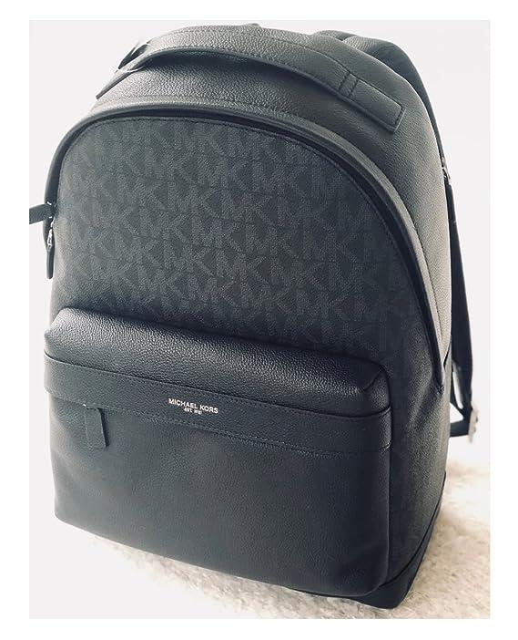 ad25984a16e1 Amazon.com: Michael Kors Mens Russel Black Signature Leather Backpack Bag:  DezignerChic