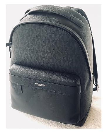 dc5a8376ecef71 Amazon.com: Michael Kors Mens Russel Black Signature Leather ...
