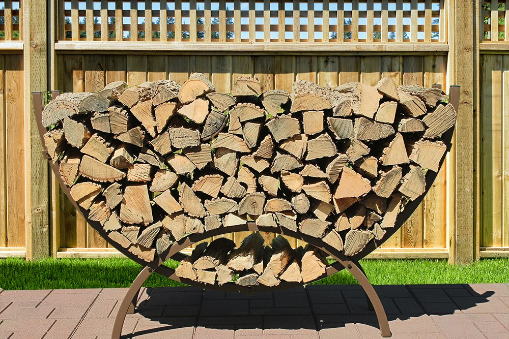 The Woodhaven 5 Foot Brown Crescent Firewood Rack