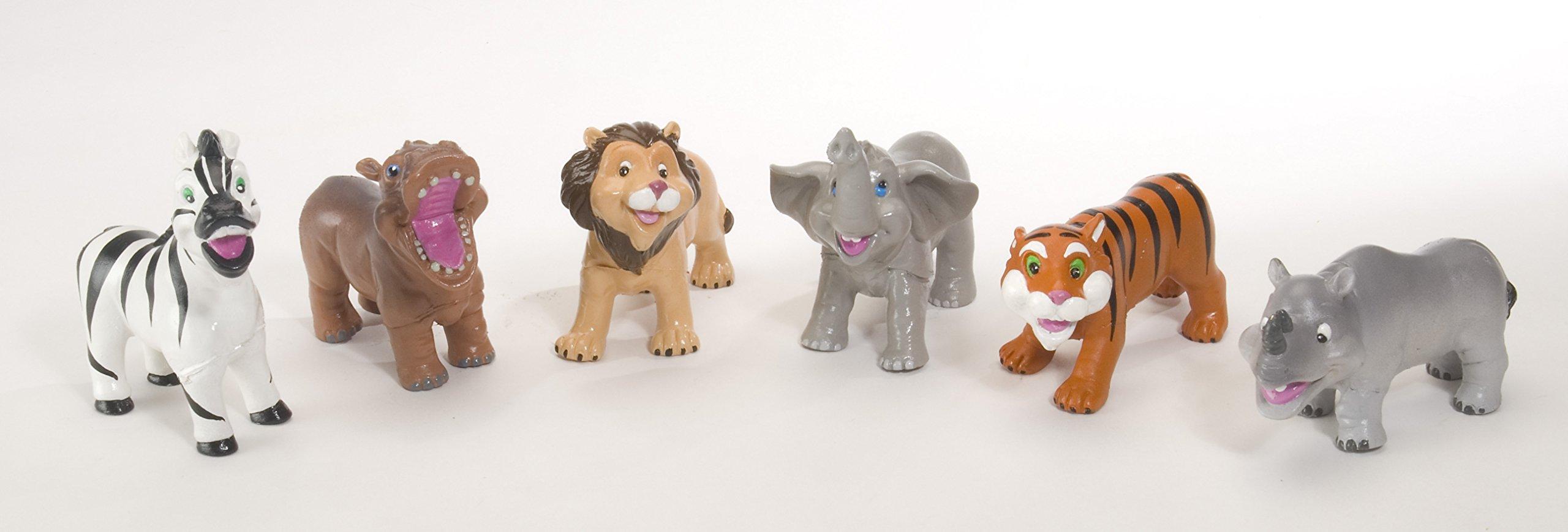 Wild Republic Zebra, Hippo, Lion, Elephant, Tiger, Rhino, Junior Jungle Safari Playset, 6 pc Set