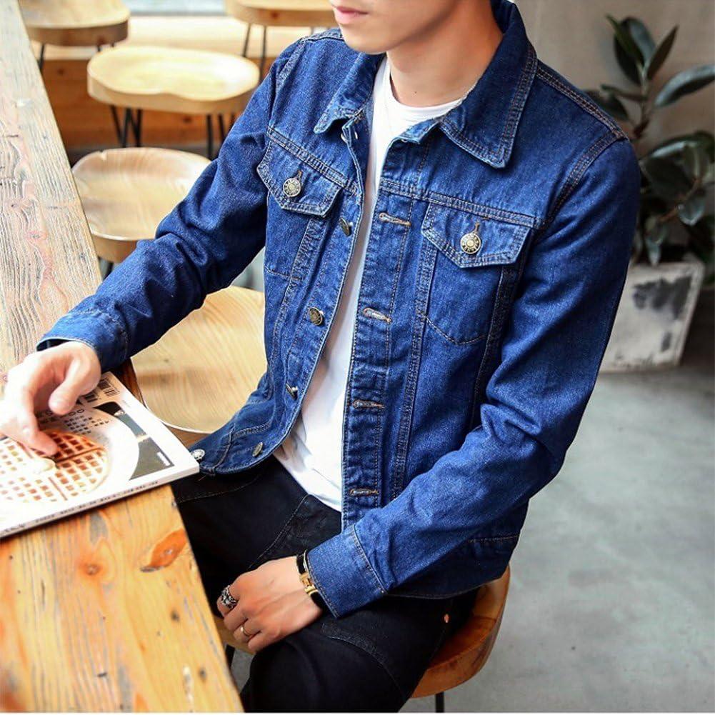 DaiHan Uomo Giacca di Jeans Vintage Classica Giubbotto Denim Giacca Panciotto Sottile