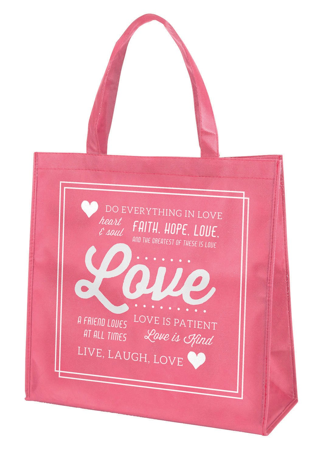 Love Faith Hope Pink 13 x 13 Inch Recycled Nylon Tote Bag by Gifts Of Faith