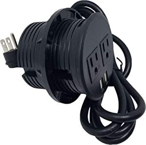 """PWR-Plug Power Grommet for Desk Office Furniture Fits 3.125"""" Inch Standard Grommet Hole 2 AC Outlets 2 USB Charging Ports ETL Listed Round - (Round - (BLACK) Fits 3 1/8"""" - 3 1/4"""")"""