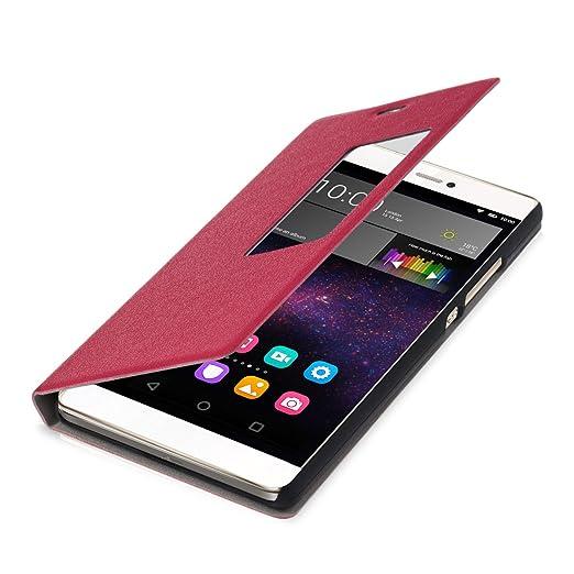 2 opinioni per kwmobile Cover per Huawei P8- Custodia magnetica con apertura a libro e finestra