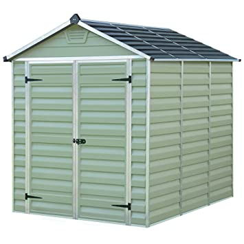 Verde plástico cobertizo 10 x 6ft con policarbonato de la claraboya techo: Amazon.es: Jardín