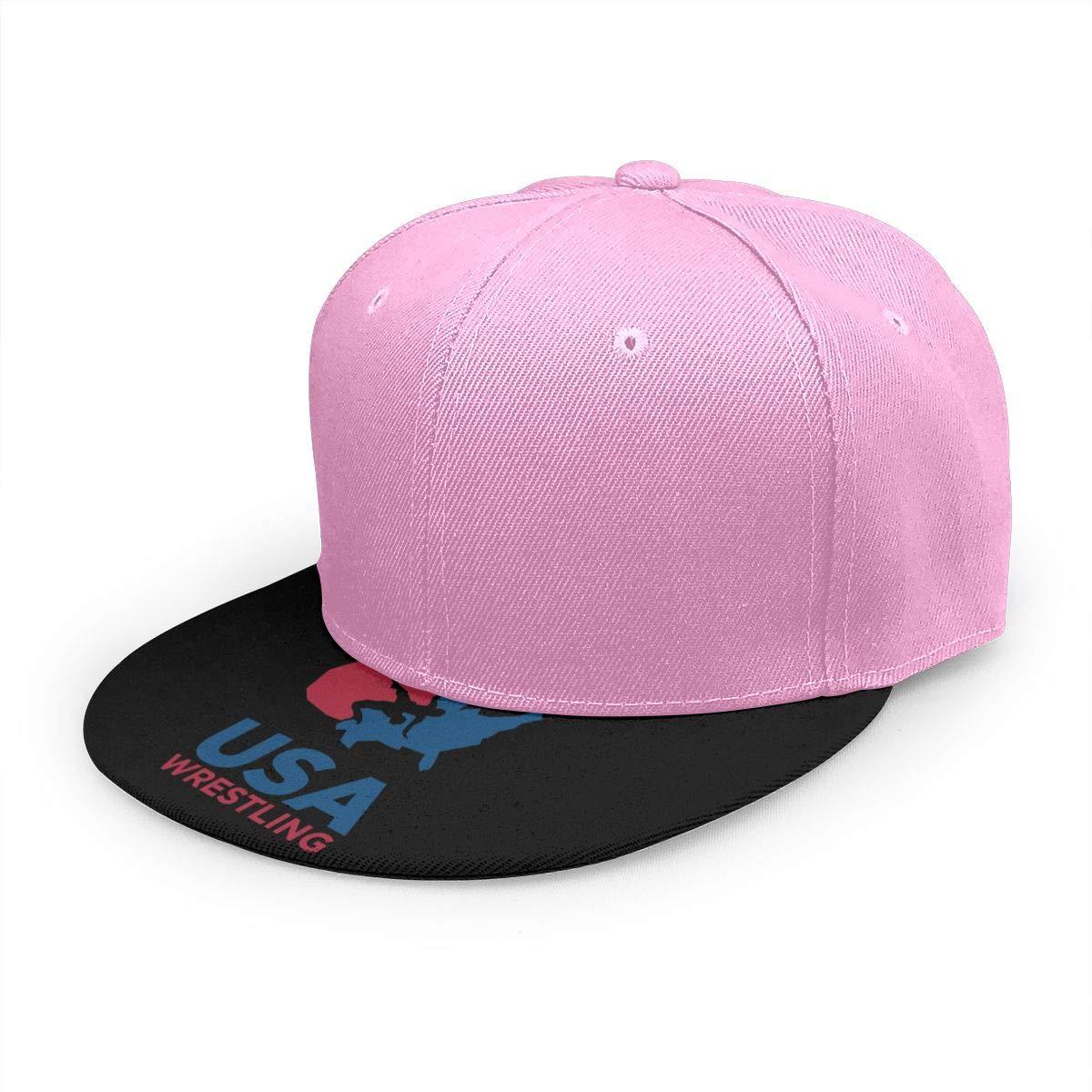 Adjustable Women Men USA Wrestling Logo Print Baseball Cap Flat Brim Cap Hats Hip Hop Snapback Sun Hat Boys Girls Pink by Apolonia