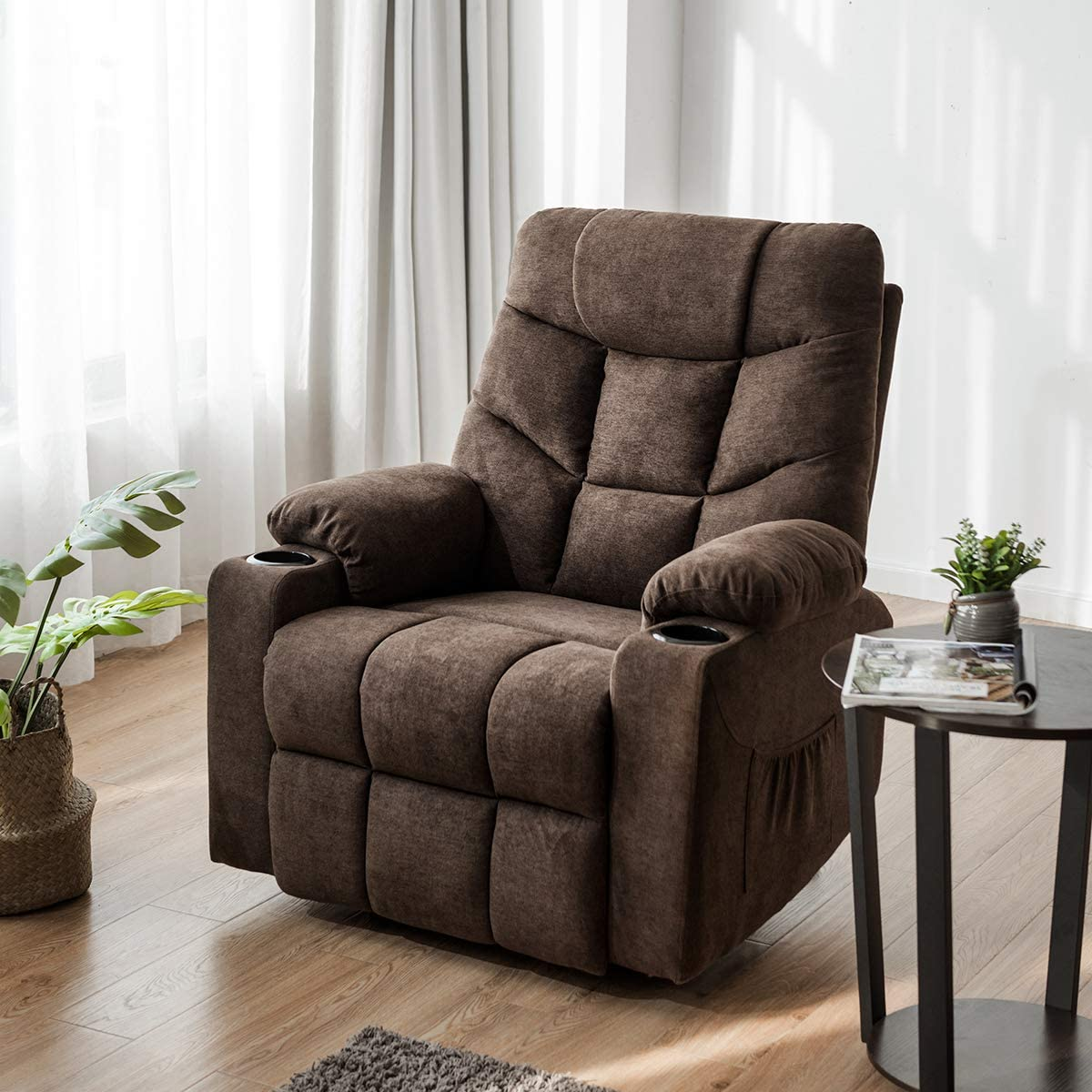 Furgle Power Lift Recliner Chair Faux Leather Electric with Massage Heat and Vibration for Elderly Living Room Lounge Massage Sofa with 2 Remotes Side Pockets and Cup Holders TUV Certified – Brown