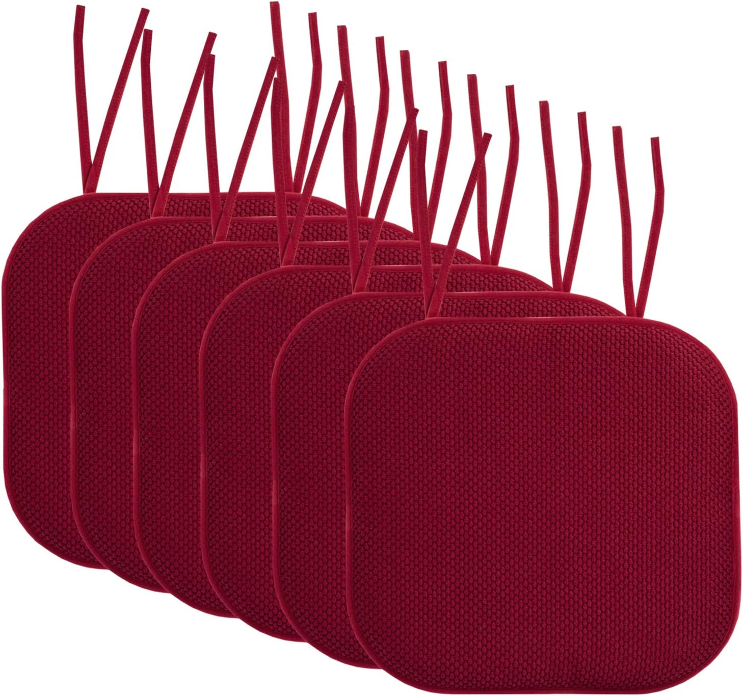 "Sweet Home Collection Chair Cushion Memory Foam Pads with Ties Honeycomb Pattern Slip Non Skid Rubber Back Rounded Square 16"" x 16"" Seat Cover, 6 Pack, Wine Burgundy"
