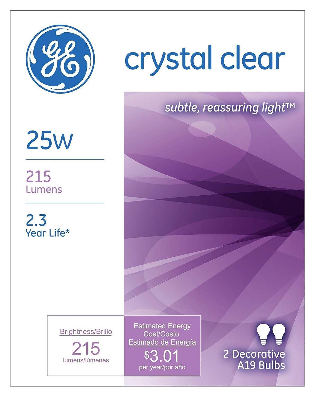 GE Lighting 97478 25-Watt 215-Lumen Decorative A19 Incandescent Light Bulb 2-Pack Crystal Clear