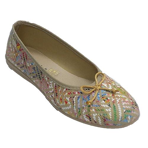 Zapatillas Mujer Tipo Manoletinas con Lazo Pinceladas de Colores Alberola en beig: Amazon.es: Zapatos y complementos