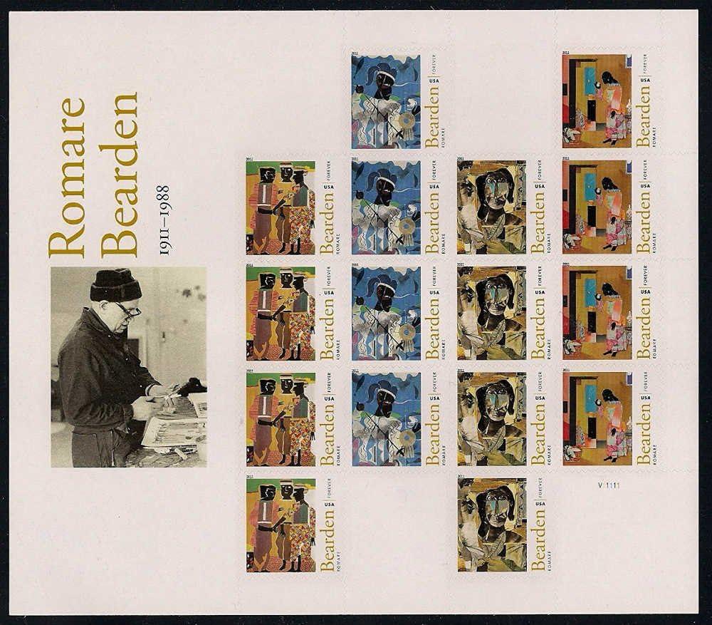 USPS Romare Bearden American Artist Sheet of 16 Forever Stamps Scott 4566-69