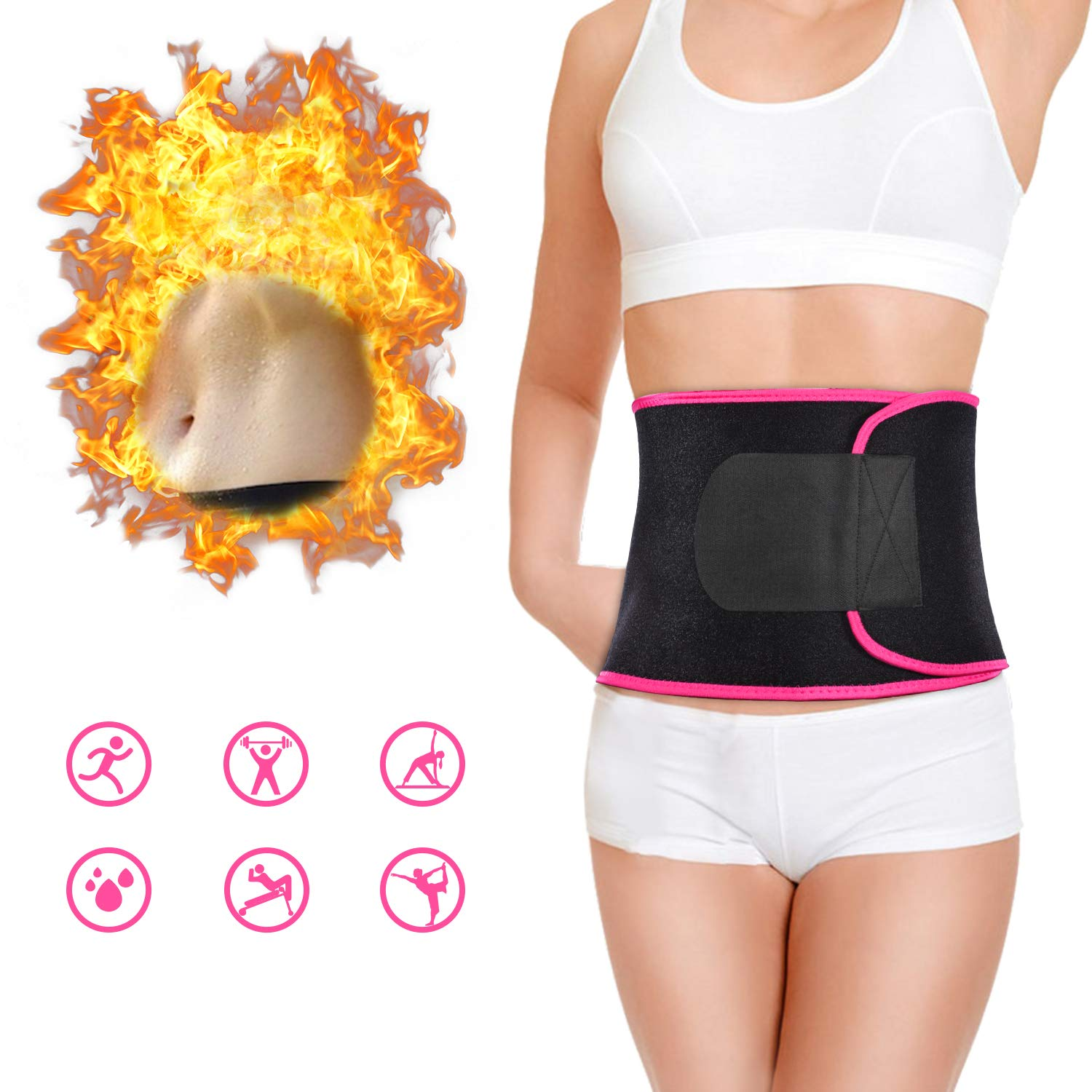 RAMHEART Waist Trimmer Belt,Exercise Fitness Waist Belt Workout Sweat Enhancer Exercise Adjustable Wrap Enjoy Sweet Abdominal Muscle & Back Support Burn Calories Increase Metabolism,Pink