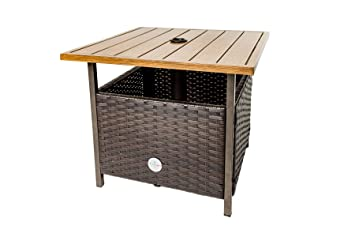 Charming Wicker Umbrella Side Table Stand