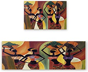 """2 Pcs Kitchen Mats Runner Rug Set Anti Fatigue Standing Mat Rubber Backing African Women Mural Style Print Washable Floor Mat Area Rug for Home/Office 15.7""""x23.6""""+15.7""""x47.2"""""""