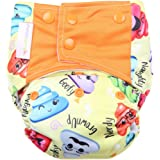 superbottoms Reusable Cloth Diaper For Heavy Absorbency (Poopy Face) - Yellow