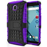 Nexus 6 Case, MagicMobile Hybrid Protective Armor Case for Google Nexus 6 Hard Rugged PC Kickstand with Shock-Absorption Flexible Anti-Slip TPU Case Cover for Motorola Nexus 6 (2014 Release) - Purple
