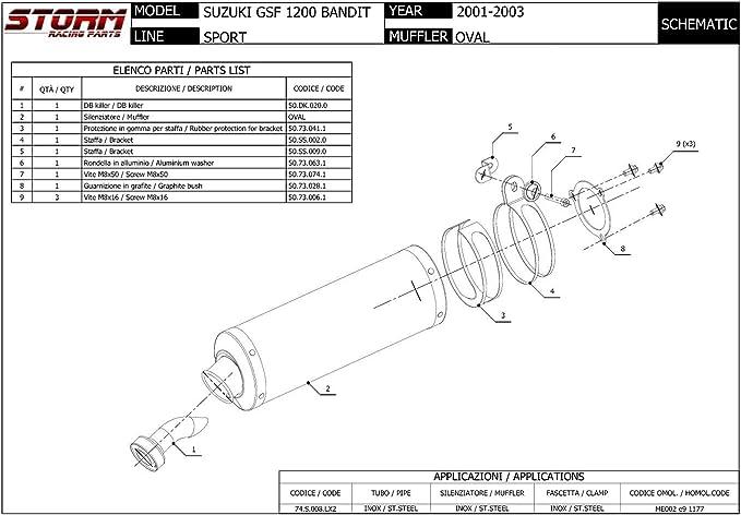 74.S.002.LX2 Auspuff Storm by Mivv Schalldampfer Oval Gsf 1200 Bandit 1998 98