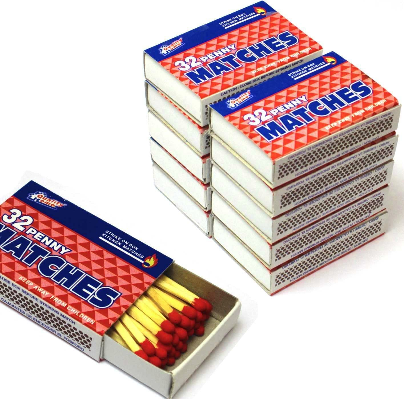 Quality Home Wooden Kitchen Matches, Strike On Box, 32 Matches Per Box (10 Count)