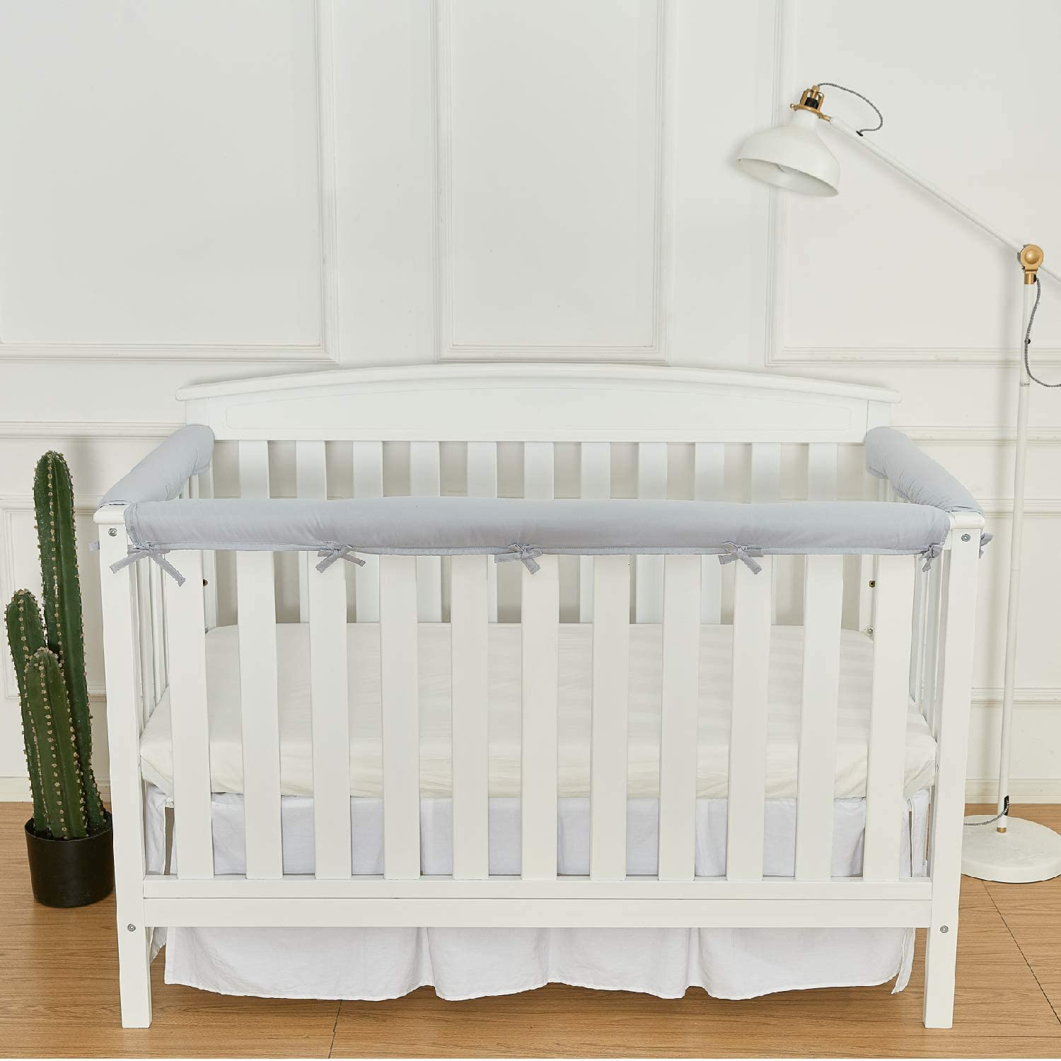 White EXQ Home 3-Piece Baby Crib Rail Cover Set for 1 Front Rail and 2 Side Rails,Safe Kids Padded Crib Rail Protector from Chewing for Standard Cribs,Soft Batting Inner for Baby Teething Guard