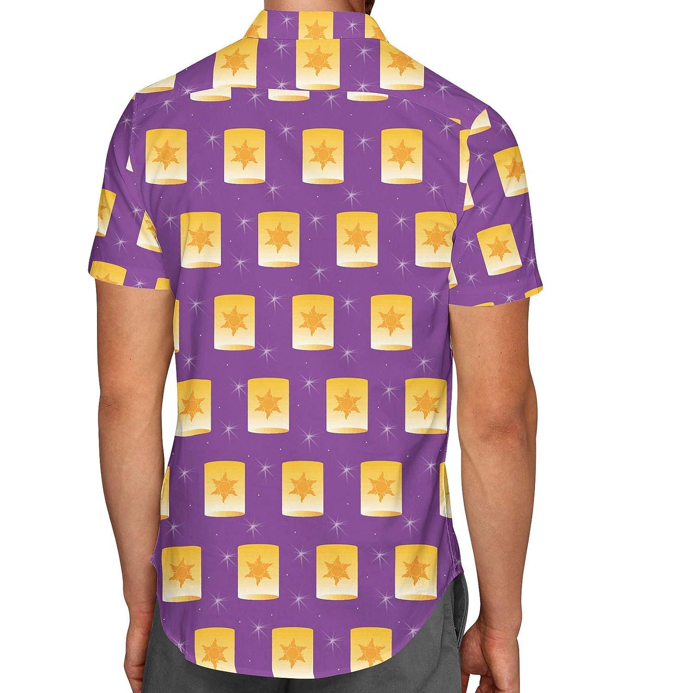 Tangled Floating Lanterns Mens Button Down Short Sleeve Shirt