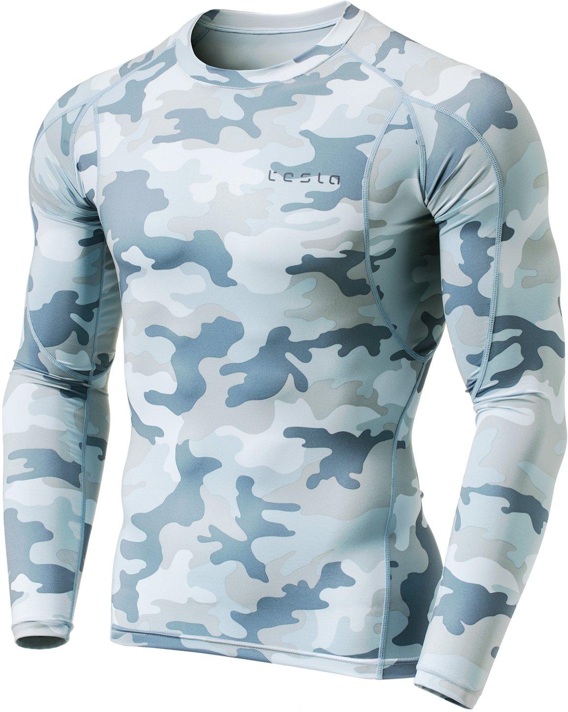 Tesla TM-MUD11-MLG_X-Small Men's Long Sleeve T-Shirt Baselayer Cool Dry Compression Top MUD11 by Tesla